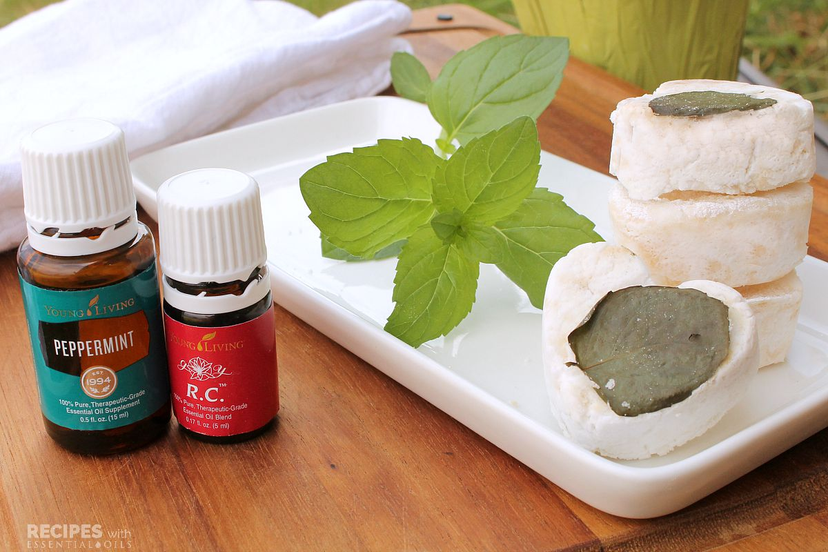 Easy Recipe for an Invigorating Peppermint Shower Bomb from RecipesWithEssentialOils.com
