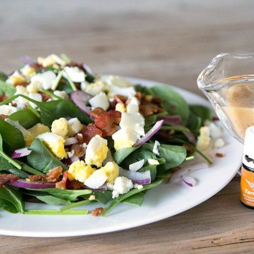 Bacon & Spinach Salad with Homemade Tarragon Dressing from RecipesWithEssentialOils.com