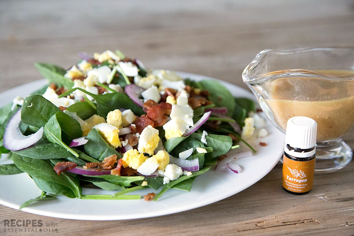 Bacon & Spinach Salad with Homemade Tarragon Dressing from RecipesWithEssentialOils.com