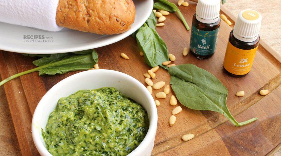 Easy Recipe for Spinach Pesto from RecipesWithEssentialOils.com