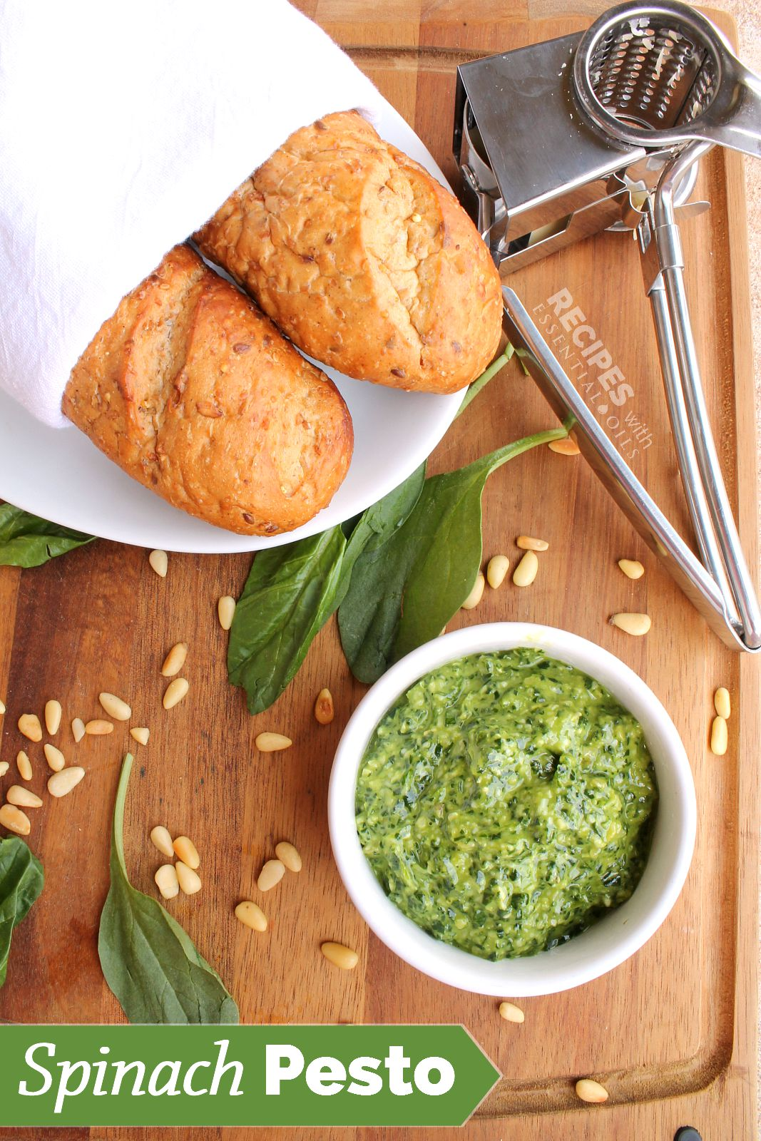 Spinach Pesto Recipe from RecipesWithEssentialOils.com