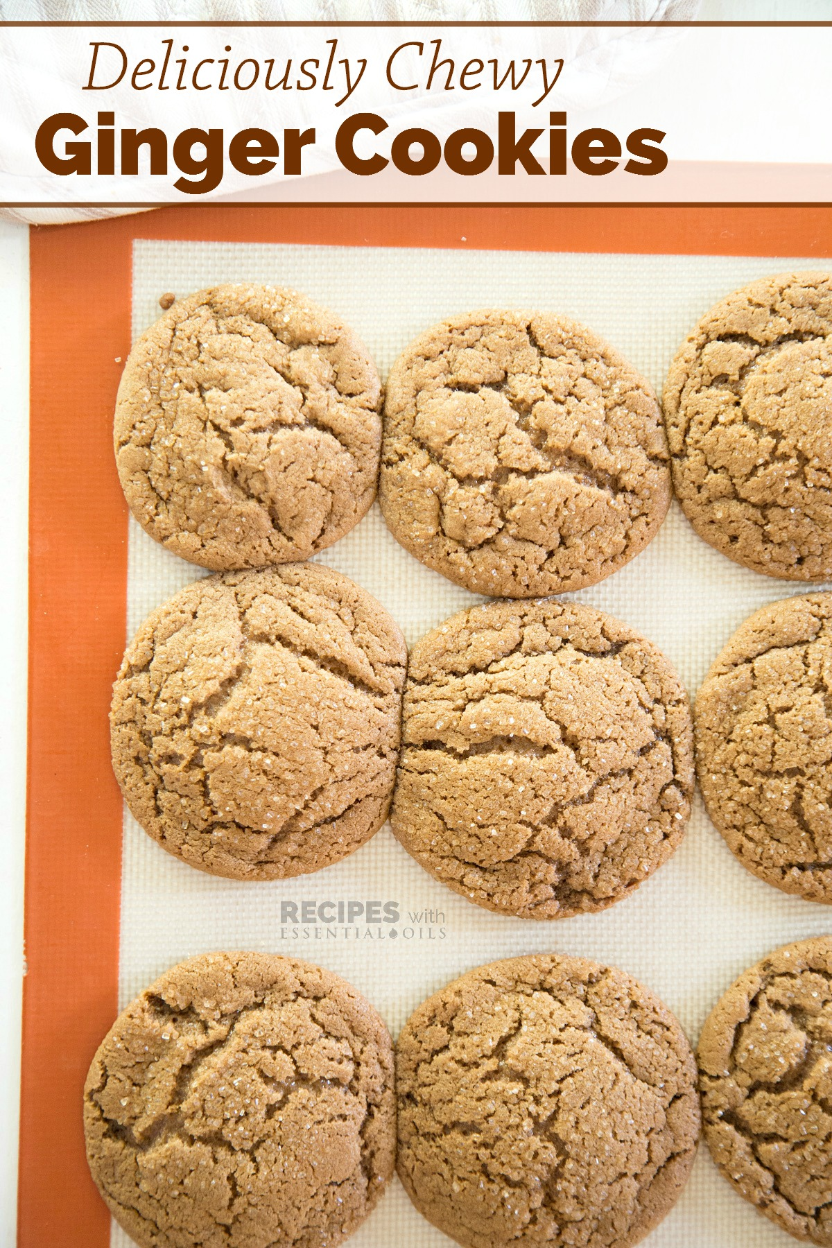 Easy Recipe for Chewy Ginger Cookies from RecipeswithEssentialOils.com