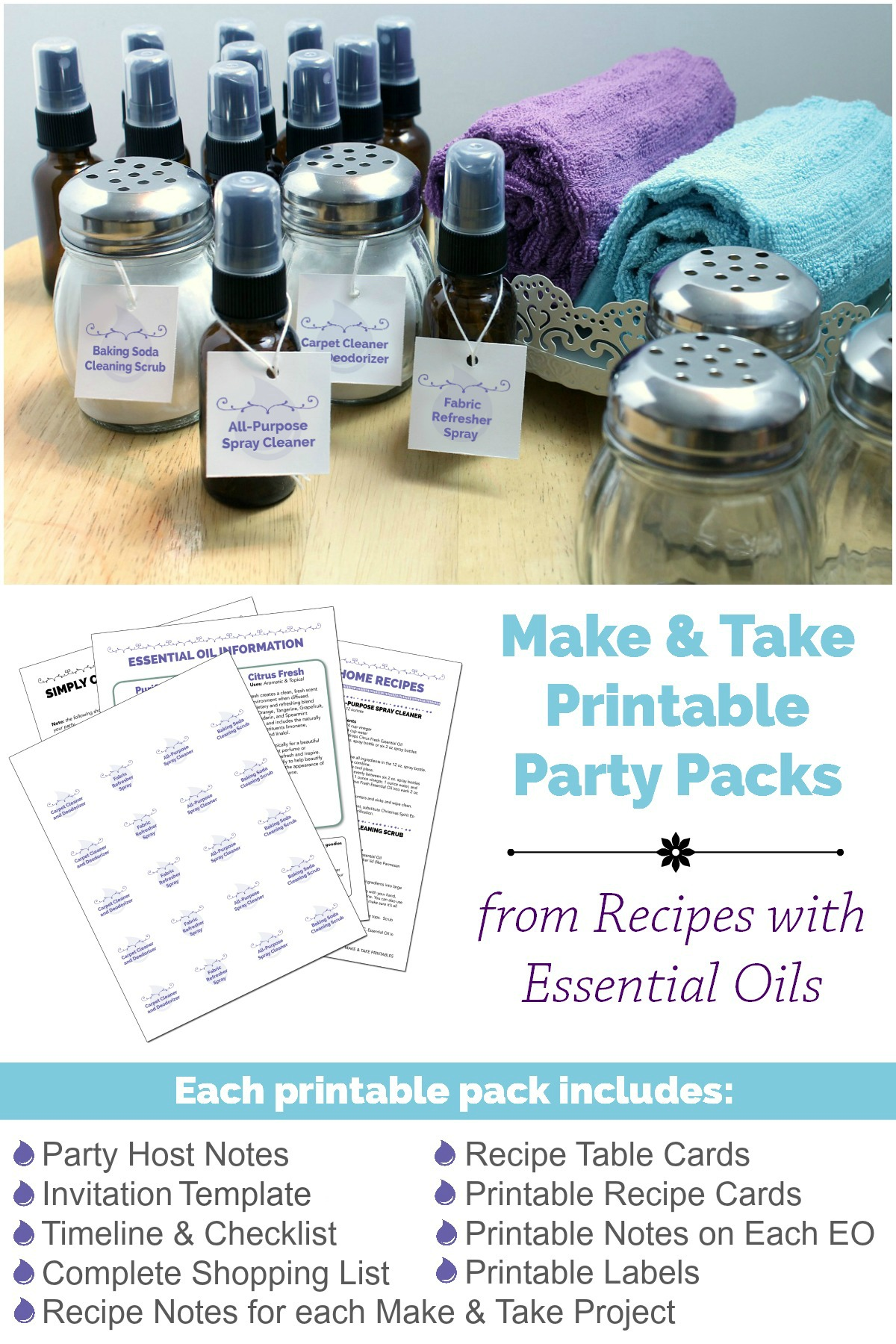 Make and Take Printable Party Packs from RecipeswithEssentialOils.com