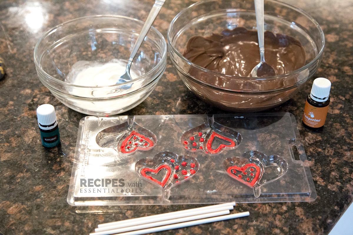White & Dark Chocolate Lollipops from RecipeswithEssentialOils.com