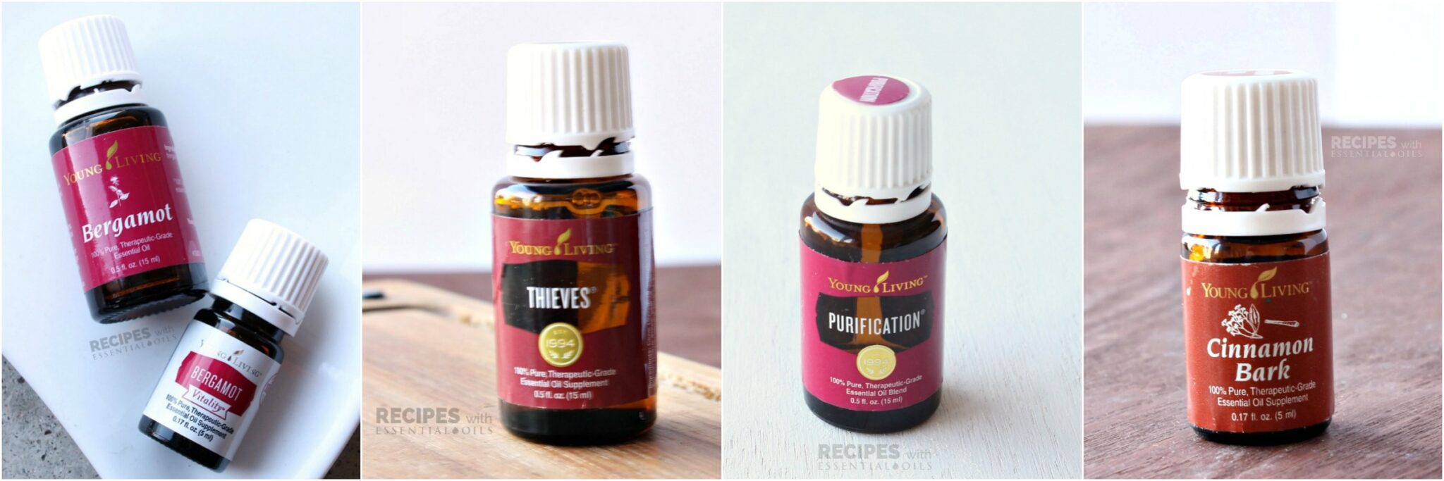 10 Must Have Essential Oils including Bergamot, Thieves, Purification, and Cinnamon Bark from RecipeswithEssentialOils.com