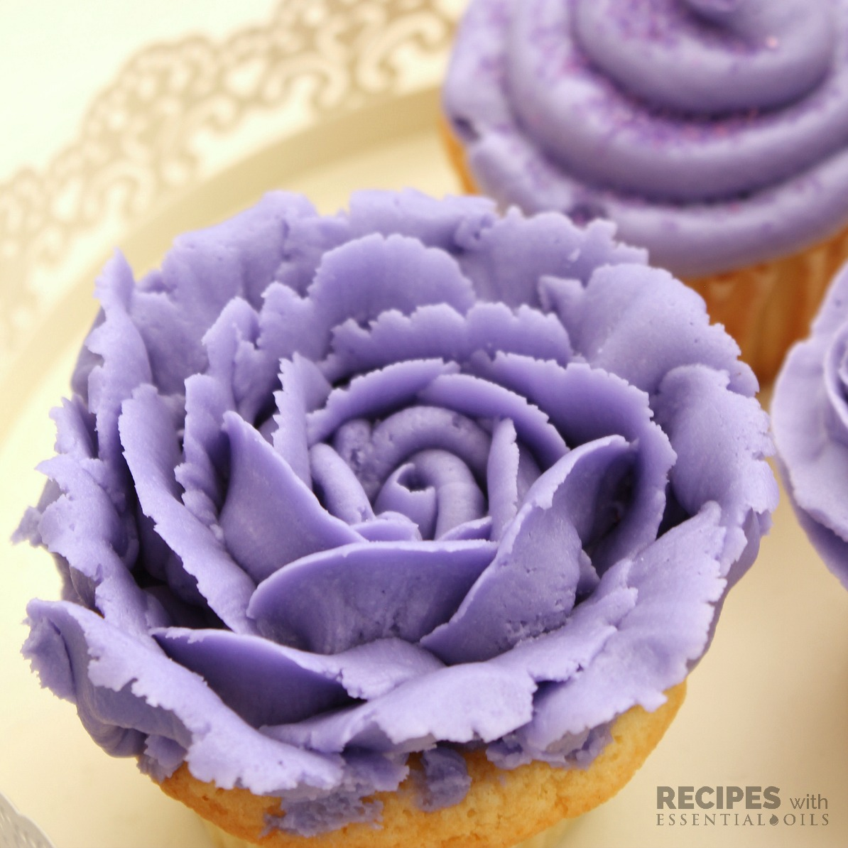 Perfect Lavender Vanilla Buttercream Frosting Recipe from RecipeswithEssentialOils.com