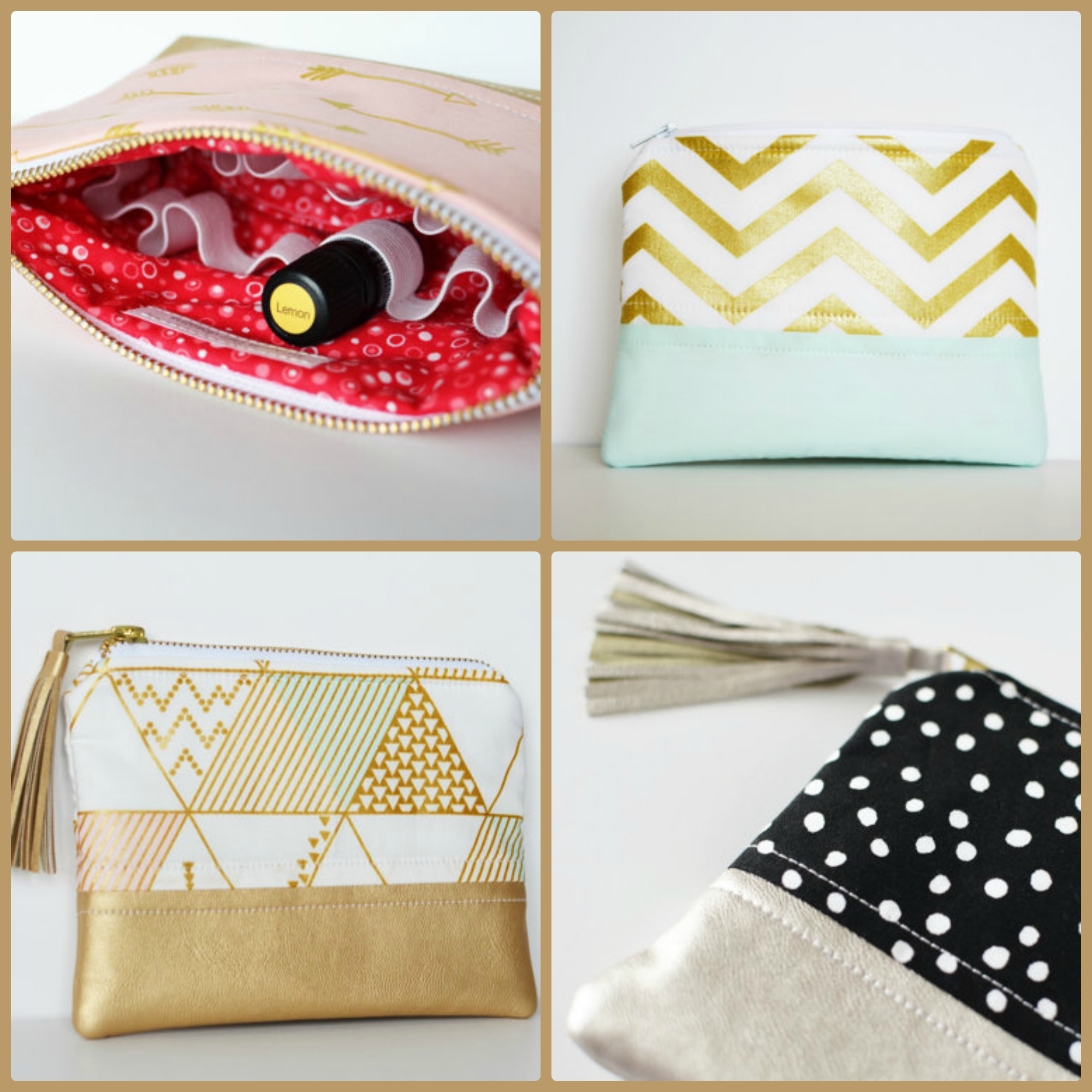 These chic and sassy essential oil bags are my FAVORITE! They are perfect for 5 ml bottles, 15 ml bottles, AND roller bottles! | RecipeswithEssentialOils.com