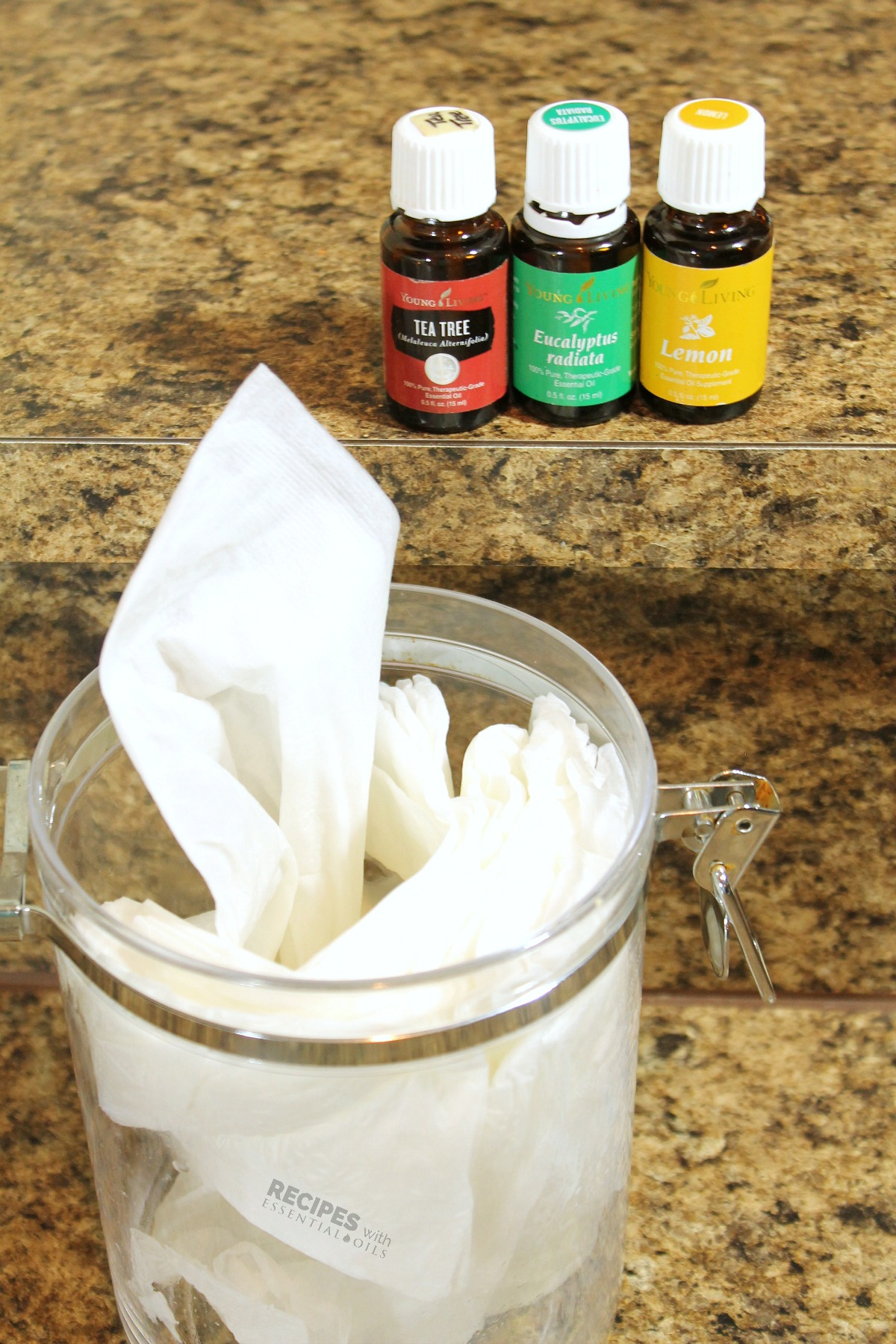 Homemade DIY Kitchen Cleaning Wipes from RecipeswithEssentialOils.com