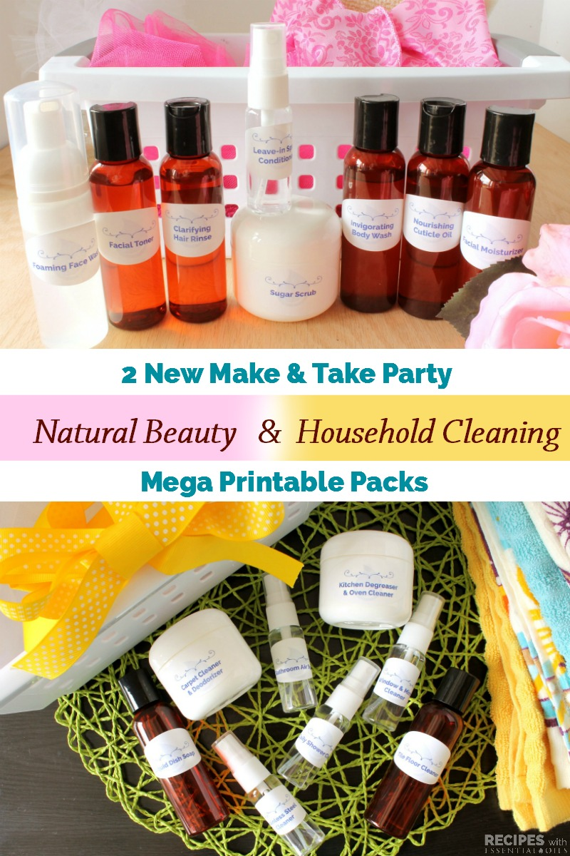 2 New Make & Take Party Printable Packs for Natural Beauty and Household Cleaning for a total of 16 new recipes from RecipeswithEssentialOils.com