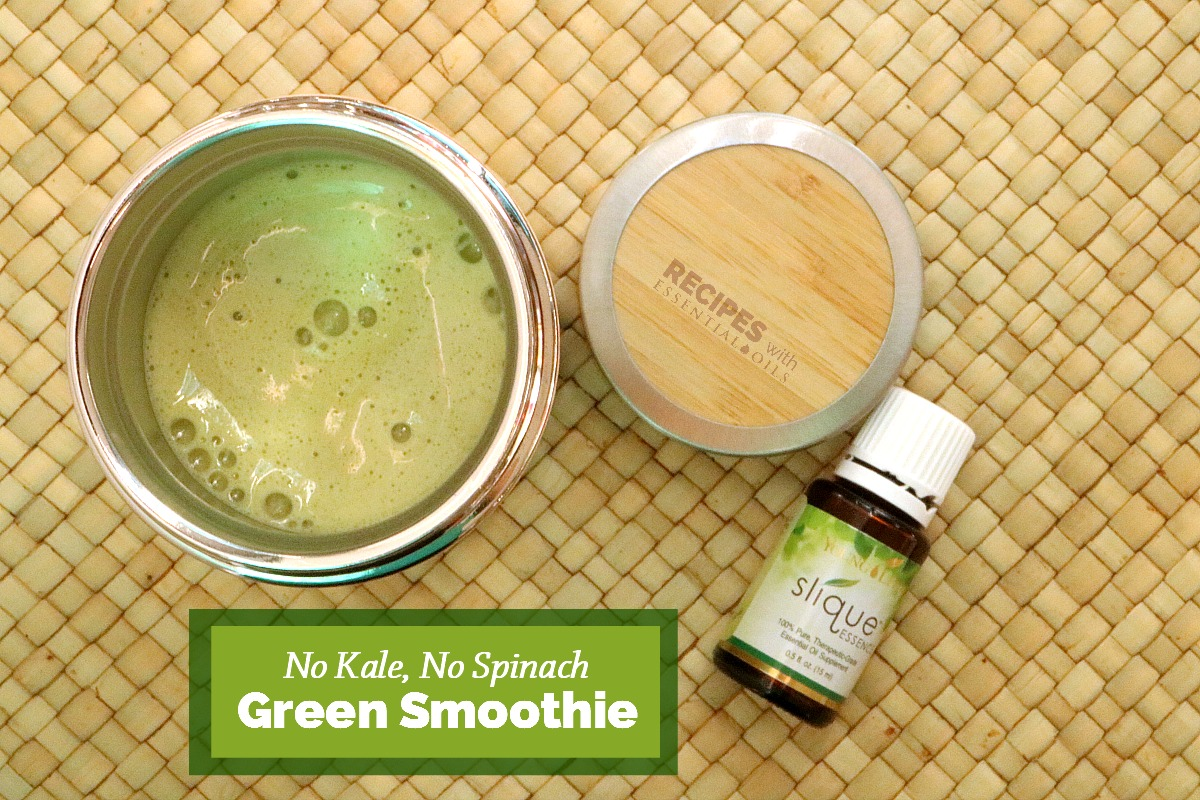 A light refreshing Green Smoothie Recipe for healthy weight management from RecipeswithEssentialOils.com