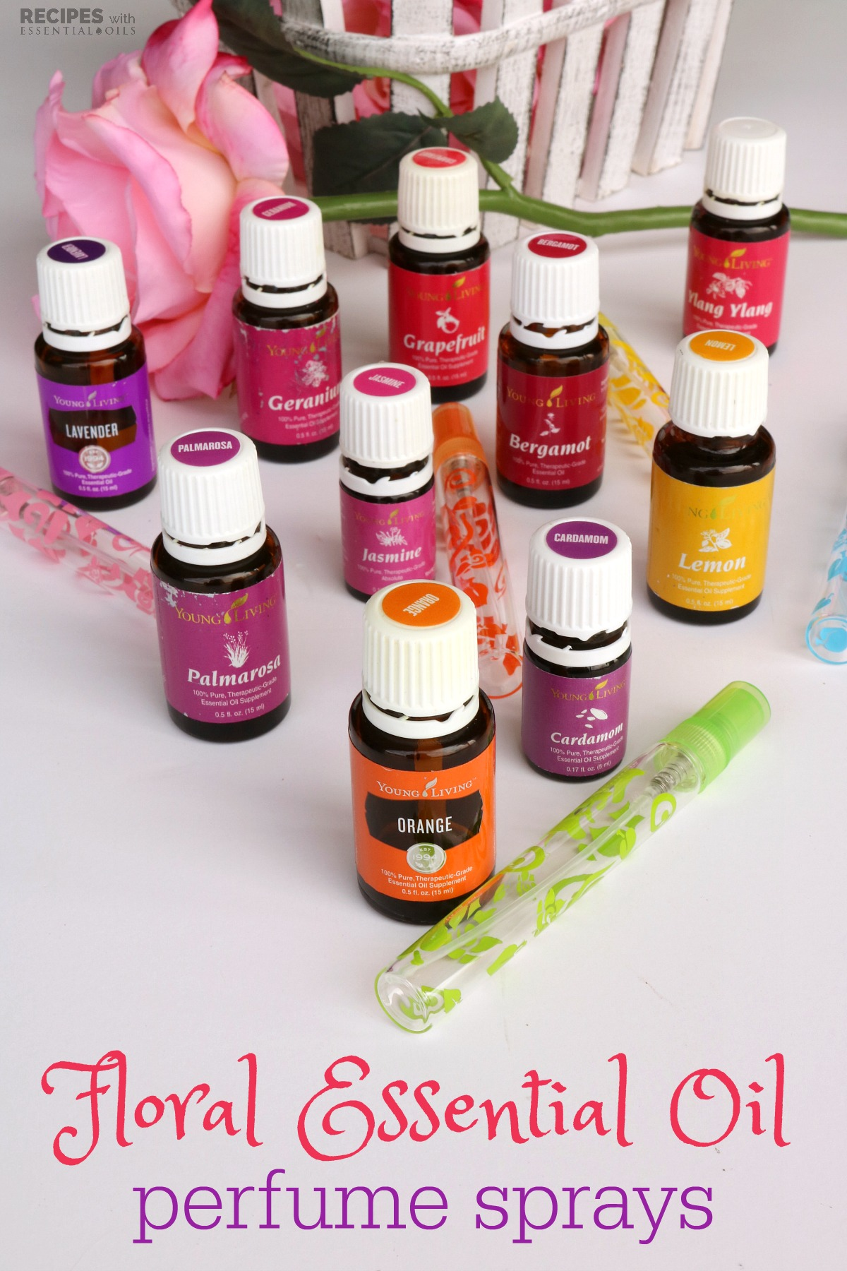 4 Floral Essential Oil Perfume Sprays from RecipeswithEssentialOils.com