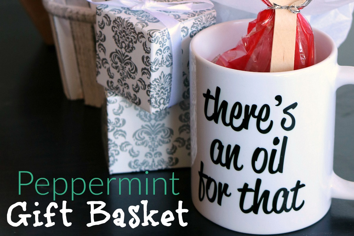 Peppermint Gift Basket including Gourmet Hot Cocoa and Peppermint Fudge from RecipeswithEssentialOils.com