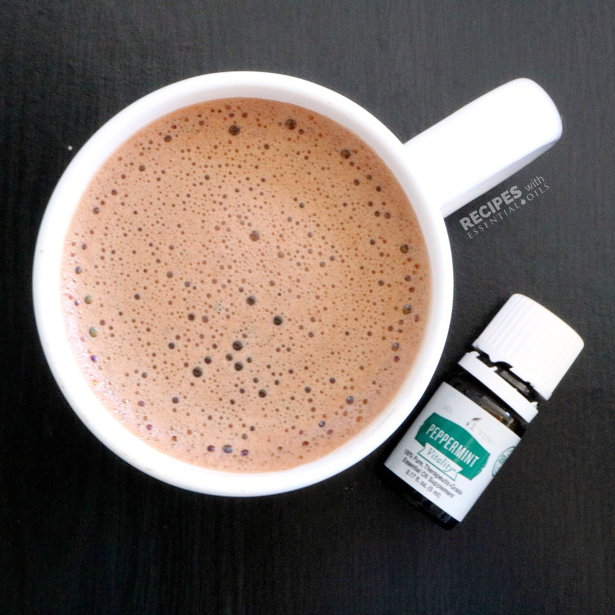 Peppermint Hot Cocoa Mix Recipe ~ perfect for holiday gifts from RecipeswithEssentialOils.com