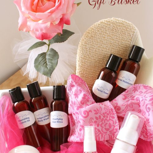 Gift Idea: Spa Gift Basket filled with luxurious beauty products made from essential oils from RecipeswithEssentialOils.com
