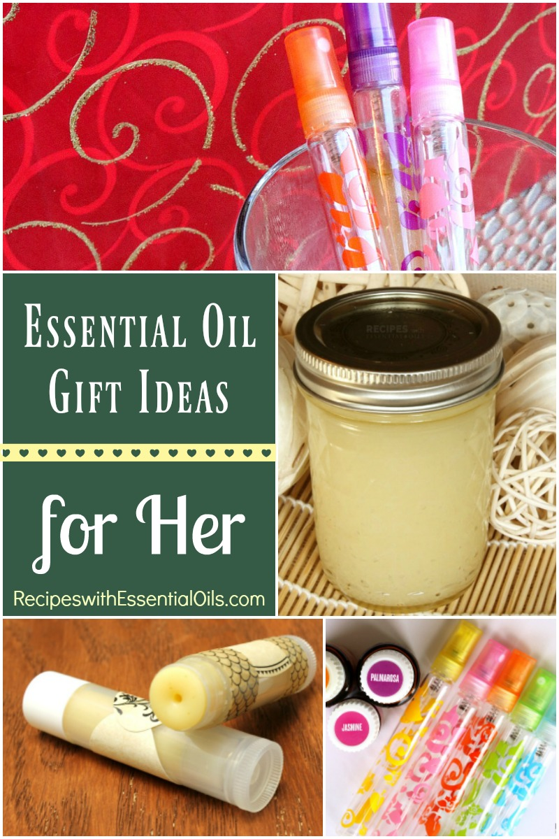 Essential Oil Gift Ideas for Her including a new recipe for a Christmas Perfume Spray from RecipeswithEssentialOils.com