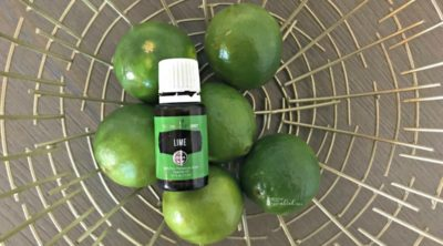 Lime Essential Oil on gold background