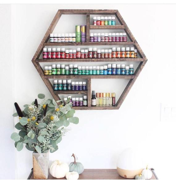 essential oil wood shelf storage