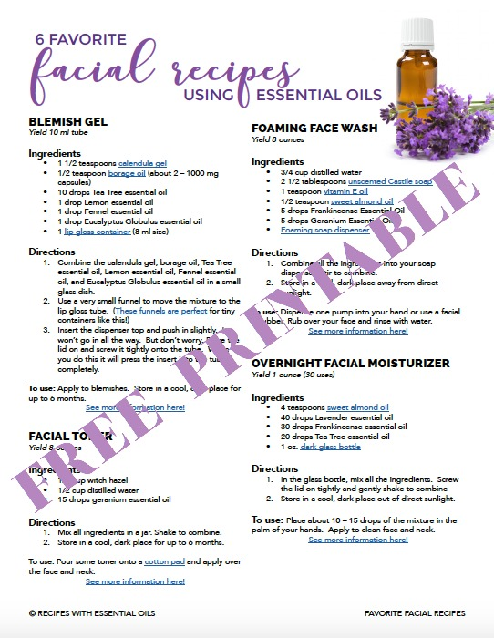 essential oil facial care recipes