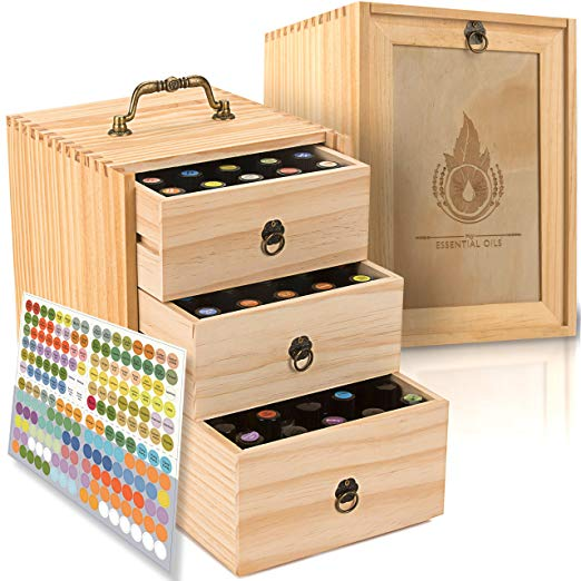 wooden essential oil storage box
