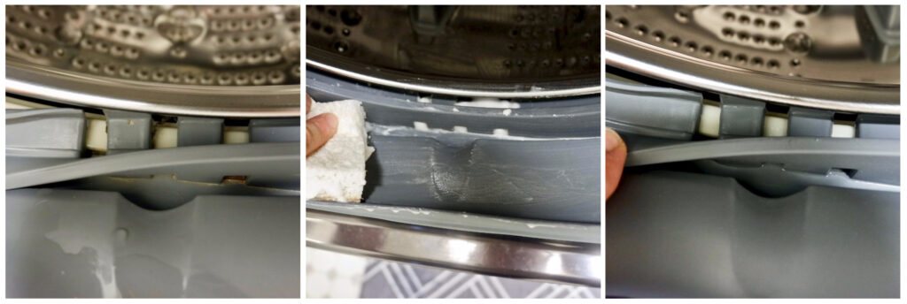before and after washing machine cleaner