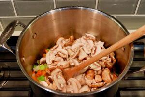 mushrooms soup stock pot