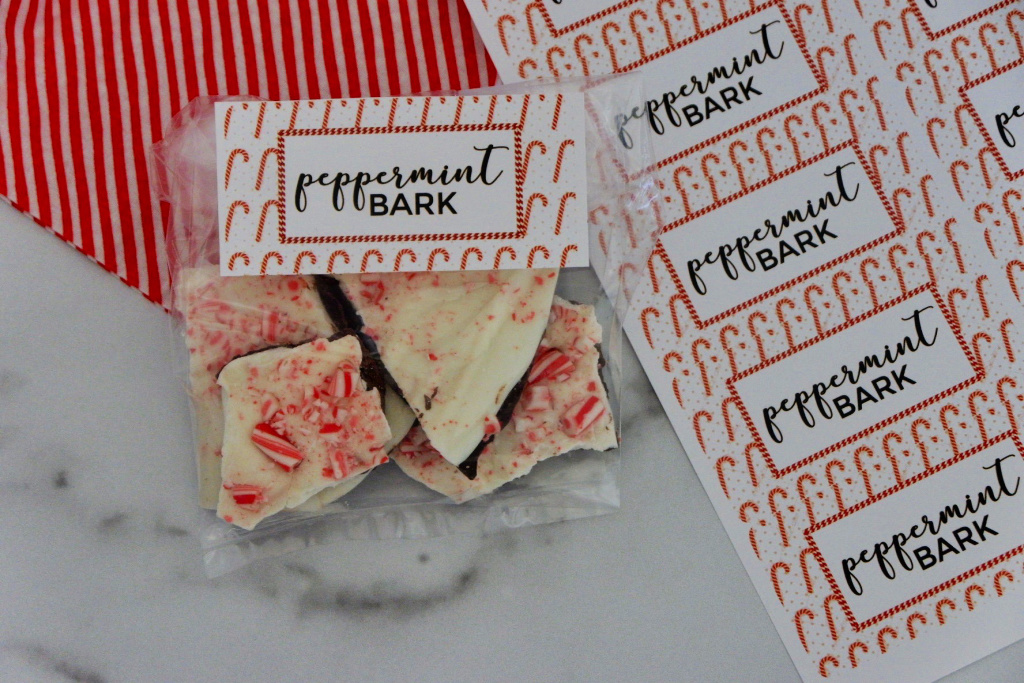 peppermint bark printable label gift idea