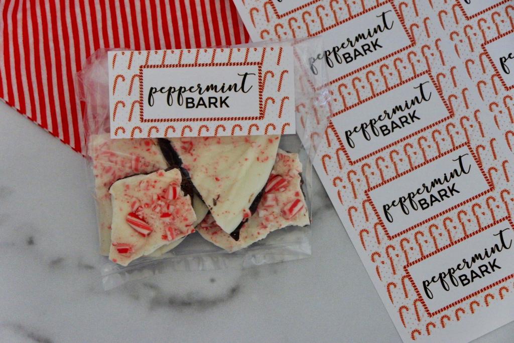 peppermint bark printable label gift idea